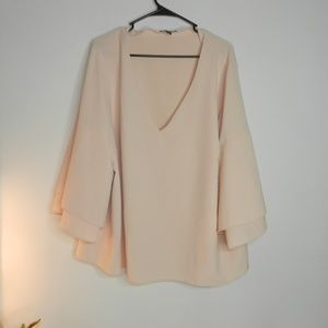 lane bryant tiered blush nude bell sleeve top